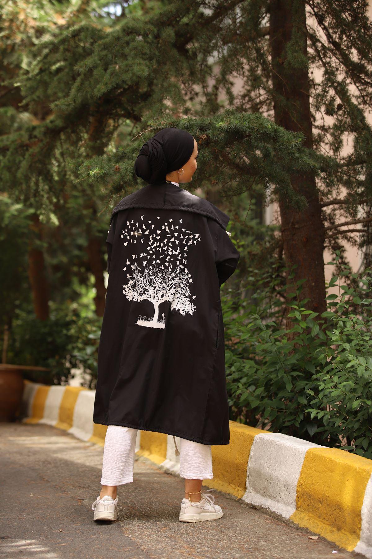 Ağaç Baskılı Tesettür Kap - Siyah