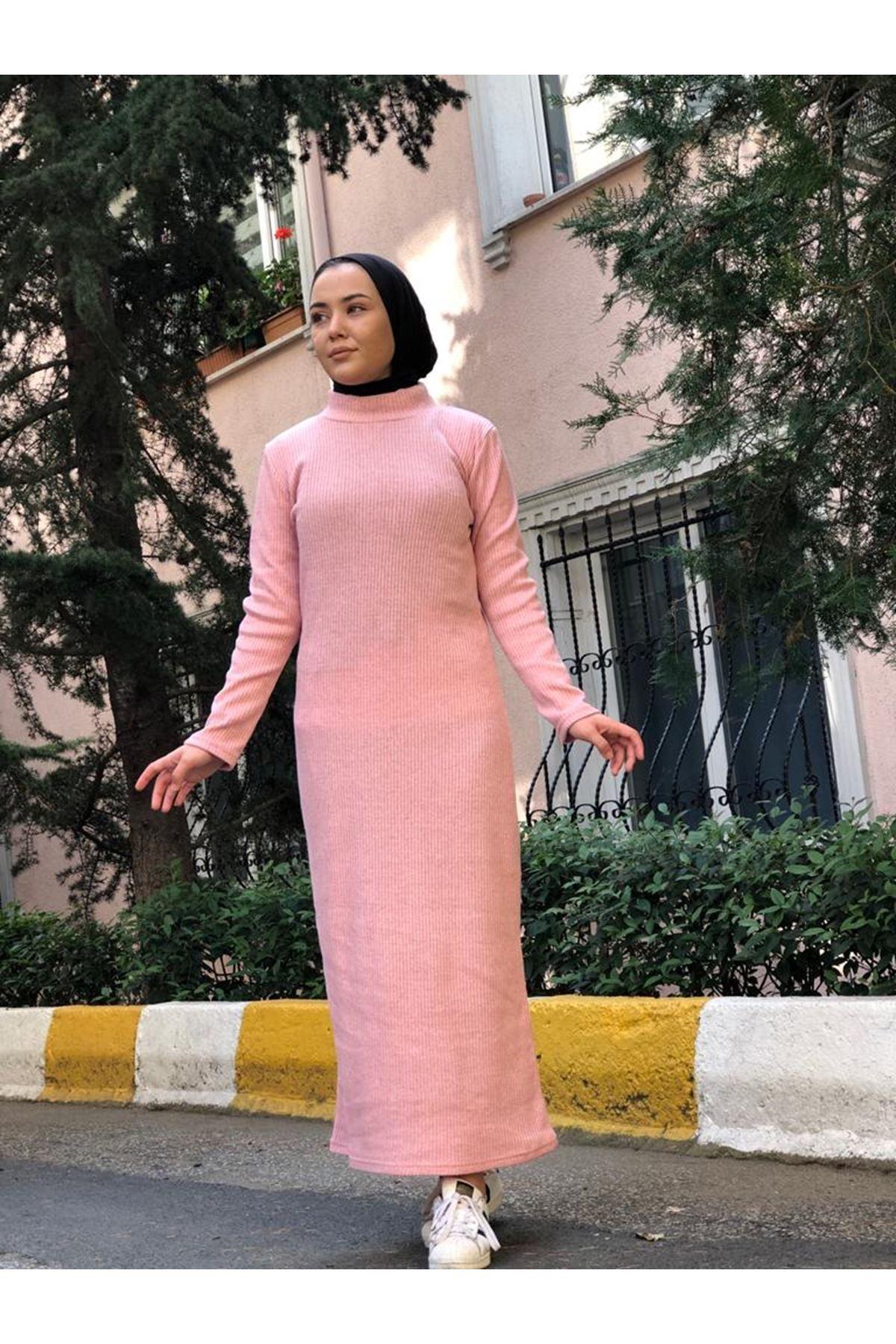 Fitilli Elbise - Pudra