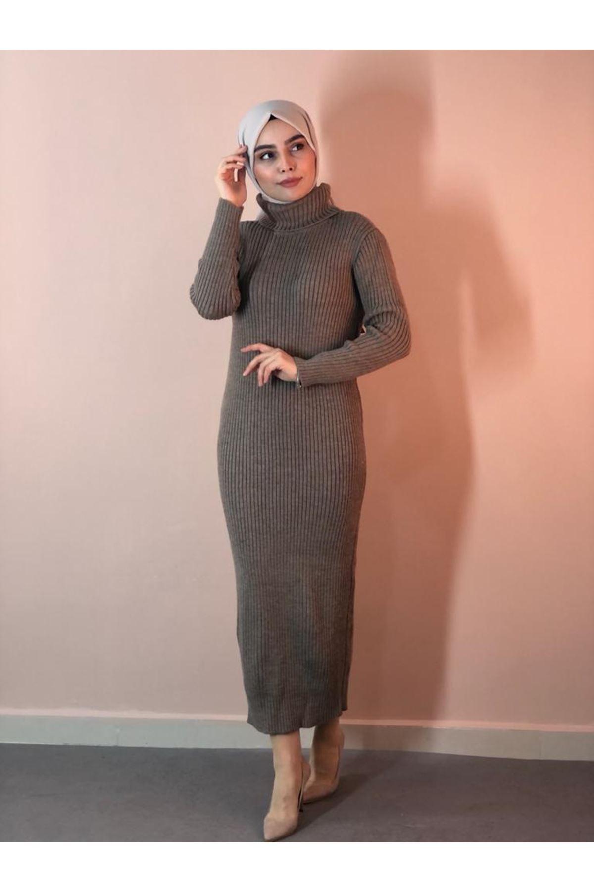 Balıkçı Yaka Fitilli Triko Elbise - Vizon