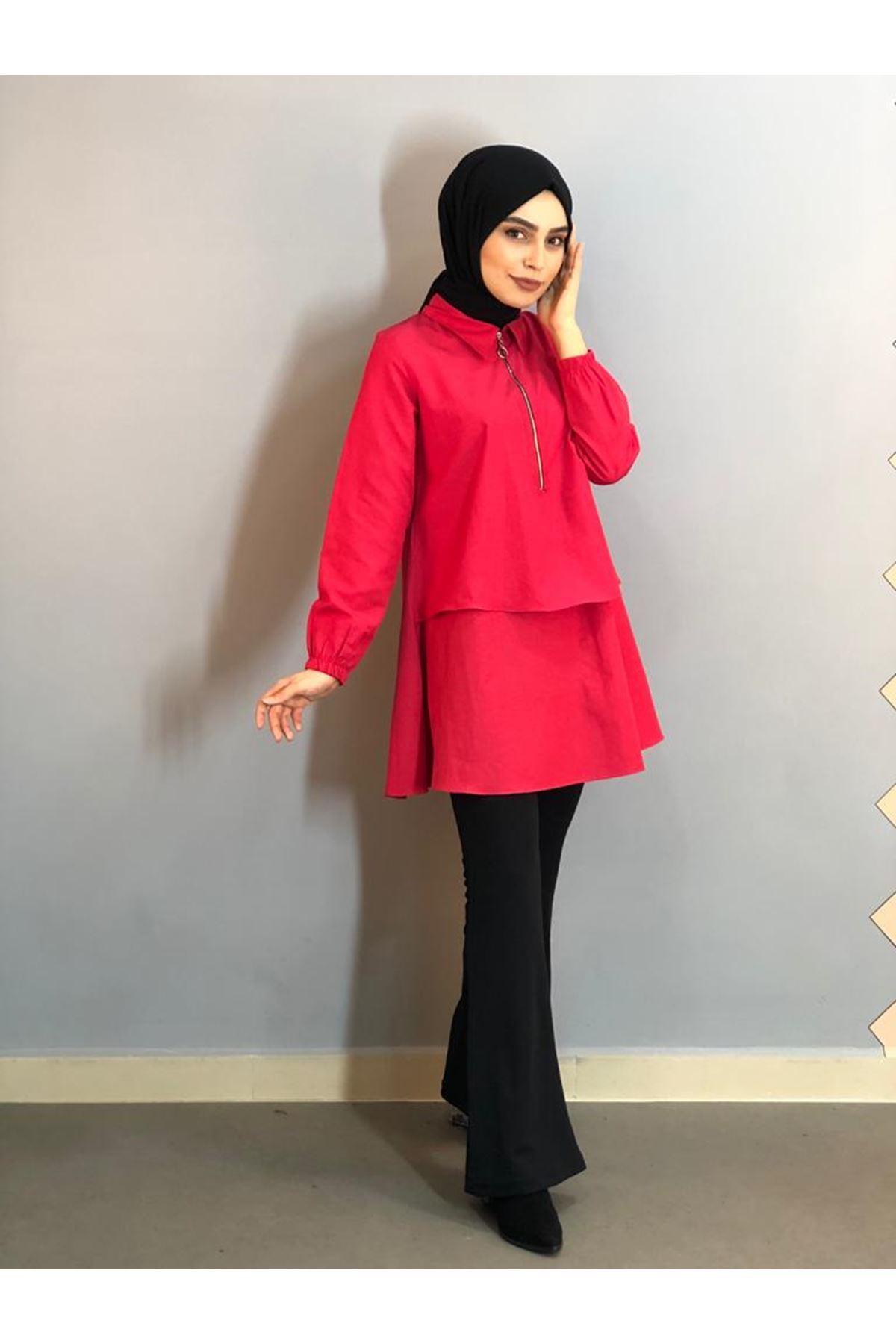 Fermuarlı Mevlana Gömlek -Kırmızı