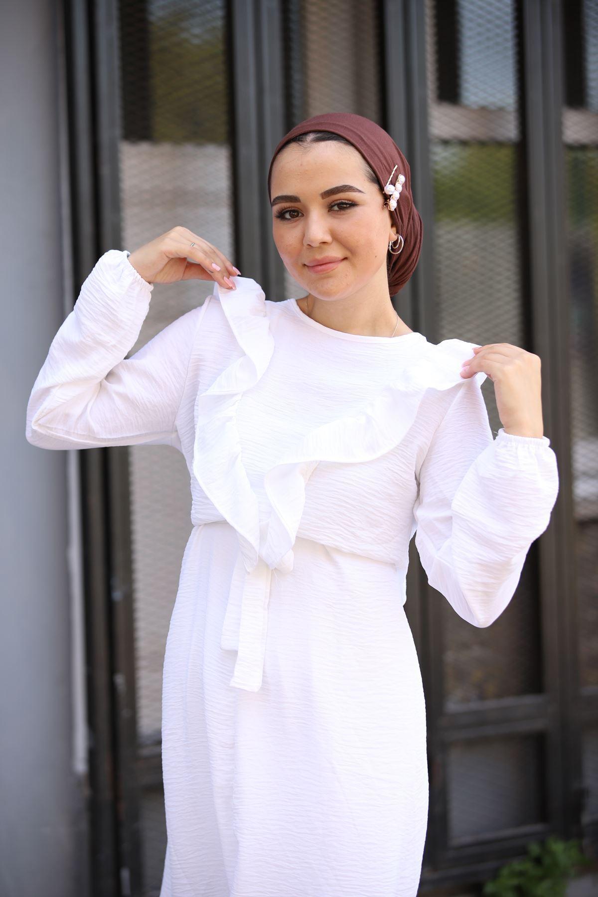 Ayrobin Fırfırlı Takım - Beyaz