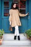 Lastik Büzgülü Katlı Tunik Gömlek - Camel