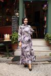 Elsi Yaprak Desen Tesettür Elbise - Mor