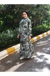 Elsi Yaprak Desen Tesettür Elbise - Yeşil