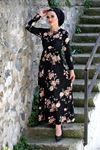 Papatya Desen Elbise - Siyah