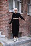 Taş Düğmeli Kemerli Triko Elbise - Siyah