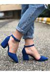 Kalın Topuklu Stiletto Ayakkabı - İndigo