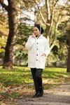 Düğmeli Peluş Ceket - Beyaz