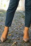 Sivri Burun Süet Stiletto Ayakkabı - BEJ