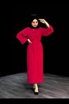 Bel Bağlamalı Kalem Elbise - KIRMIZI