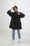 Balon Kol Dantel Detaylı Gömlek - Siyah